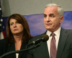 Majority Leader Amy Koch and Gov. Mark Dayton
