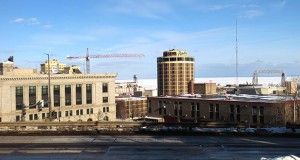The Duluth skyline often includes construction cranes, like the one from Roseville-based McGough that towers over work on a headquarters for retailer Maurices. (Submitted photo: Chris Maddy)