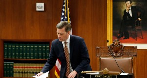 House Speaker Kurt Daudt, shown presiding at the June 12 special session, proved more than a match for the governor during budget negotiations. As Dayton indulged in vituperative public comments, Daudt radiated optimism and kept GOP legislators unified behind his agenda. (AP photo: Jim Mone)