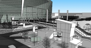 A rendering shows a bridge over Chicago Avenue that would link the new Vikings stadium and the Downtown East light rail transit platform in Minneapolis. Submitted rendering: Metro Transit