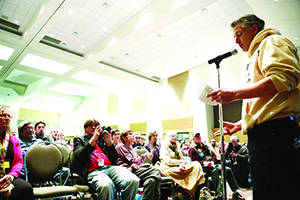 About 2,000 people packed the ballroom at St. Paul's RiverCentre on Jan. 28, 2014, for a public hearing on the planned PolyMet open-pit copper mine. File photo