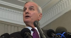 Gov. Mark Dayton addresses the media Friday after wrapping up a meeting with legislative leaders. (Submitted photo)