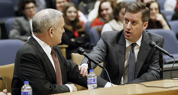 House Speaker Kurt Daudt, right, and Gov. Mark Dayton attended a forum with the media Feb. 25 before the start of the 2016 legislative session on March 8. (AP file photo: Jim Mone)